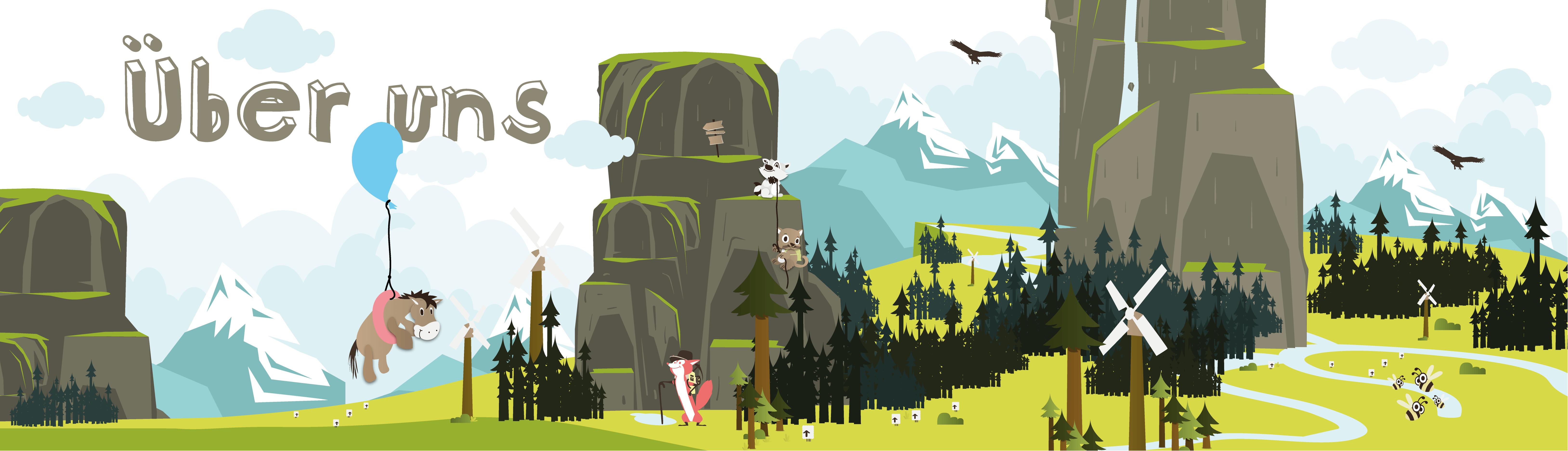 Berglandschaft mit Tieren