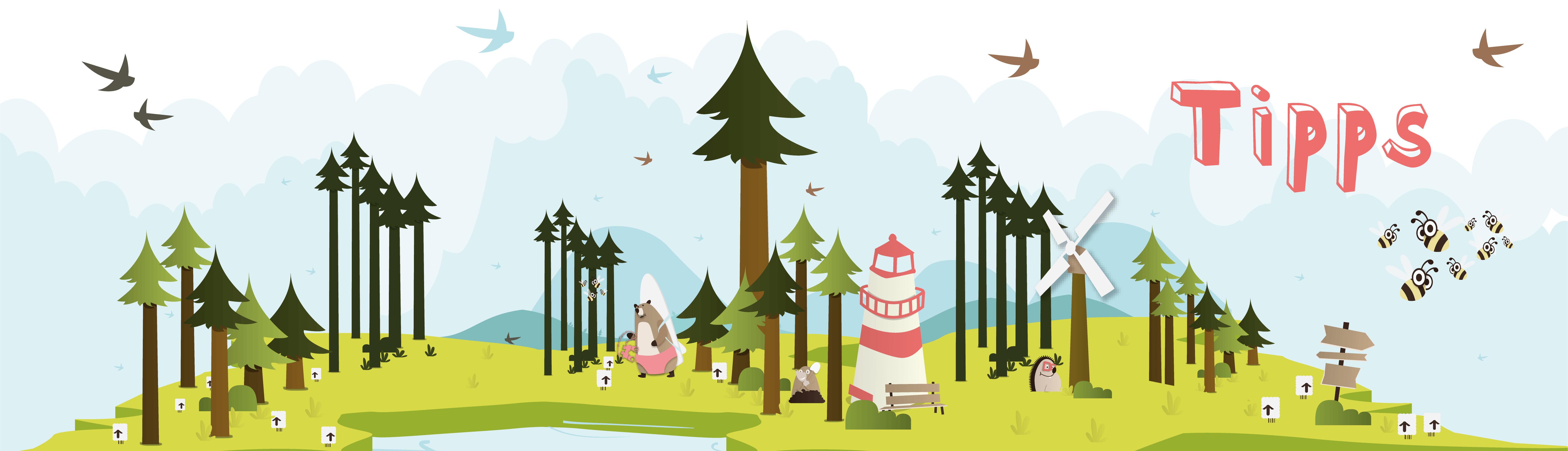 Leuchtturm in Waldlandschaft
